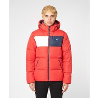 Mens Tommy Jeans Colour Block Jacket - Red/Red, Red/Red