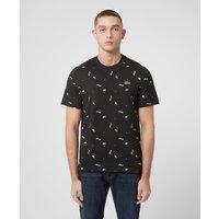 Mens Lacoste Live All Over Print Short Sleeve T-Shirt - Black/Black, Black/Black