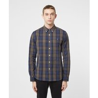 Mens Farah Brewer Long Sleeve Tartan Shirt - Multi, Khaki/Navy