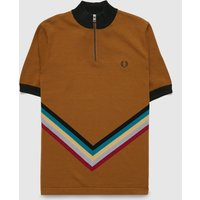 Mens Fred Perry Chevron Knitted Polo Shirt - Brown, Brown