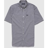 Mens Fred Perry Gingham Shirt - Navy/White, Navy/White