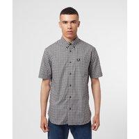 Mens Fred Perry Gingham Shirt - Black/White, Black/White