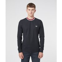 Mens Fred Perry Refined Pique Long Sleeve T-Shirt - Navy, Navy