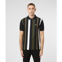 Mens Fred Perry Vertical Stripe Polo Shirt - Black, Black