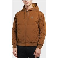 Lacoste Quilted Twill Hooded Bomber Jacket - Brown, Brown