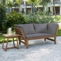 Salon de jardin en bois d'acacia FSC 2 personnes KAYDA KEVYT Bois et coussins gris