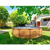 TRIGANO Piscine ronde en métal 4,95x1,32m - Imitation bois