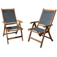 Lot de 2 fauteuils en bois d'acacia FSC et textilène - Gris