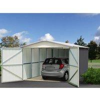 YARDMASTER Garage en métal 15,50m² - Anthracite et alu
