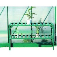 Etagère pour serre de jardin en aluminium à 2 niveaux 126 x 50 x 75cm