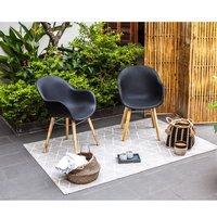 Lot de 2 fauteuils - Polypropylène et acacia - Noir