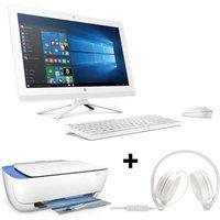 Pack HP PC Tout en un-22b000nf - Blanc - 21,5 - 4Go de RAM - Windows 10 -Core i3- Intel® HD 520-2To+ Casque stéréo+imprimante