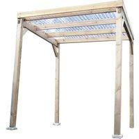 Carport en bois autoclavé 4,00m² toit plat économique avec couverture