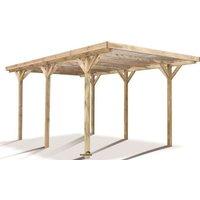 Carport bois traité pvc 15,56m² - 1 voiture