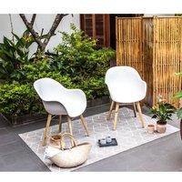 Lot de 2 fauteuils - Polypropylène et bois acacia - Blanc