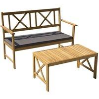 Salon de jardin en bois d'acacia 2 personnes MANLY Bois et coussins gris