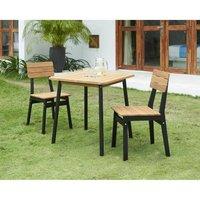 Ensemble repas de jardin - table 70x70cm et 2 chaises - structure peinte en noire - En acacia FSC