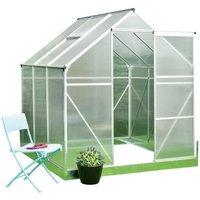 Serre de Jardin polycarbonate 3,6m² -  Structure aluminium et socle de fixation inclus - Transparent