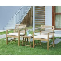 Salon de jardin en bois d'acacia FSC 2 personnes LOMA Bois et coussins écru