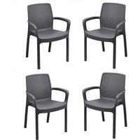 Lot de 4 fauteuil empilable REGINA en résine tréssée - Gris anthracite