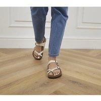 shop for Birkenstock Mayari Cross Strap Sandal GRACEFUL PEARL WHITE at Shopo