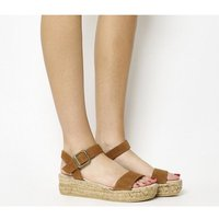 shop for Gaimo for OFFICE Jyle Flatform Sandal BROWN SUEDE at Shopo