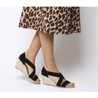 shop for Office Maiden Cross Strap Wedge BLACK SUEDE at Shopo