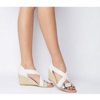 Office Maiden Cross Strap Wedge OFF WHITE LEATHER WITH SNAKE