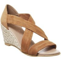 Office Maiden Cross Strap Wedge TAN SUEDE GOLD MIX JUTE