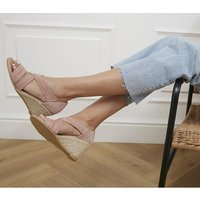 shop for Office Maiden Cross Strap Wedge NUDE SUEDE at Shopo