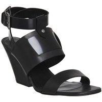 shop for Poste Mistress Nyla Block Heel Sandal BLACK LEATHER WOOD HEEL at Shopo