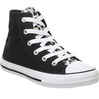 Converse All Star Hi Mid Sizes BLACK DRIFTWOOD WHITE LEOPARD TONGUE