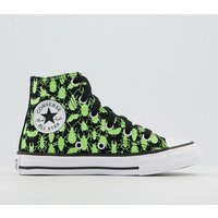 Converse All Star Hi Youth Trainers BLACK CERAMIC GREEN WHITE GLOW BUG