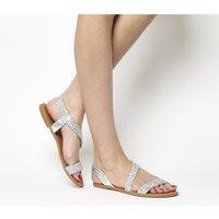 Office Sparkle Embellished Sling Back Sandals SILVER SNAKE