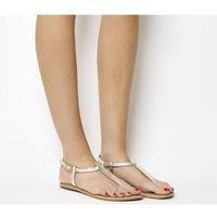 Office Samba Toe Post Sandals GOLD CROC LEATHER