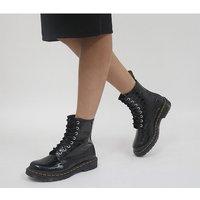 Dr. Martens 8 Eyelet Lace Up Boots BLACK PATENT LAMPER CROC EMBOOS