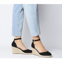 Office Marsha Closed Toe Espadrille Wedge BLACK WITH GOLD BRANDING