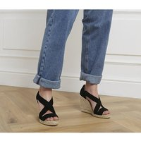 shop for Office Holiday Wedge Espadrilles BLACK SUEDE at Shopo