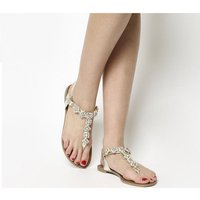 Office Saint Toe Post Sandals GOLD SNAKE