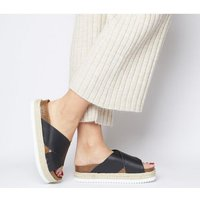Office Mexico Cross Strap Footbed BLACK LEATHER