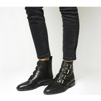 shop for Office Amsterdam- Multi Buckle Studded Boot BLACK LEATHER GOLD HARDWARE at Shopo