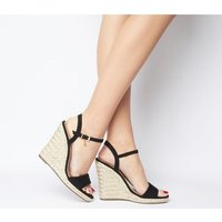 shop for Office Honolulu 2 Part Dressy Espadrille Wedge BLACK WITH CHARM at Shopo