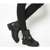 shop for Office Amery- Buckle Biker Boot BLACK LEATHER GUNMETAL at Shopo
