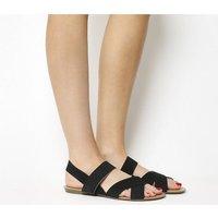 Office Skippy- Elastic Cross Strap Sandal BLACK