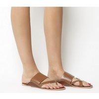 Office Salutation Toe Loop Sandals TAN LEATHER
