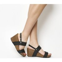 Office Mandalay Cork Wedge BLACK LEATHER