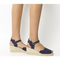 shop for Gaimo for OFFICE Round Wedge Espadrille NAVY SUEDE at Shopo