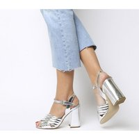 shop for Office Hamiton Padded Cross Strap Heel Sandal SILVER METALLIC at Shopo