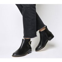 shop for Office Alexander- Buckle Detail Boot BLACK WITH GOLD HARDWARE at Shopo