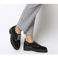 Office Float- Contrast Lace Up BLACK SUEDE WHITE STITCH